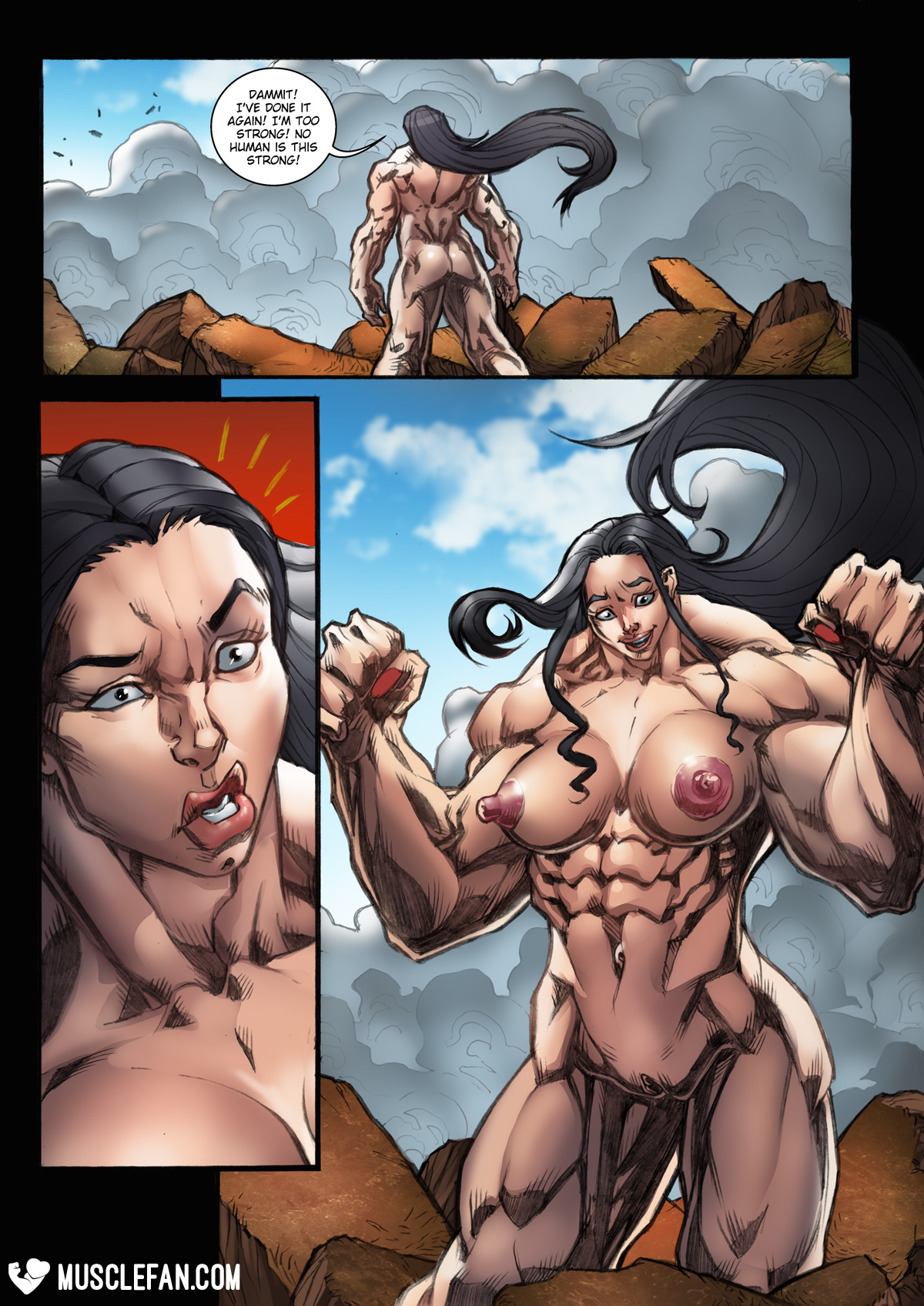 muscle comic porn growth muscle Female